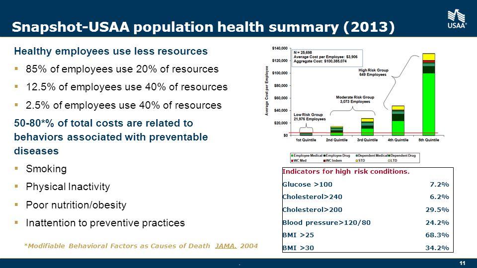 Snapshot-USAA population health summary (2013)