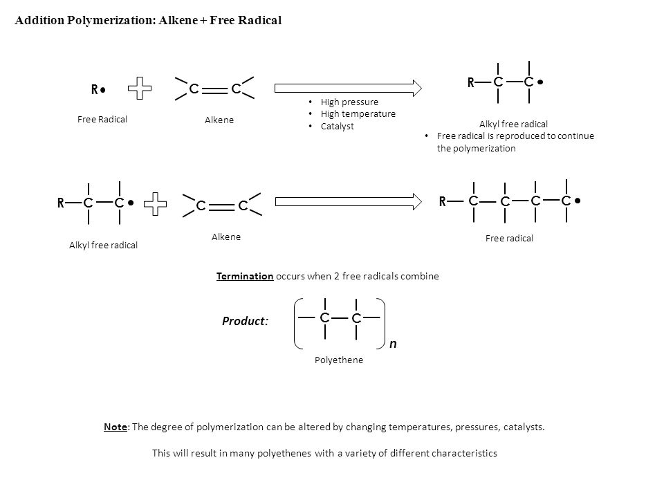 Addition Polymerization: Alkene + Free Radical