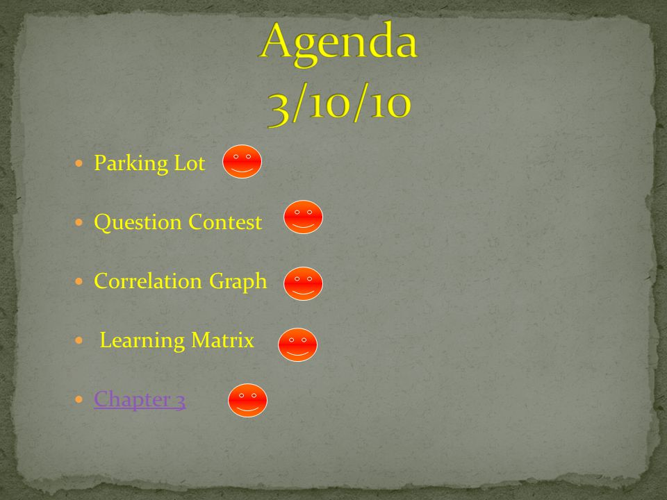 Agenda 3/10/10 Parking Lot Question Contest Correlation Graph