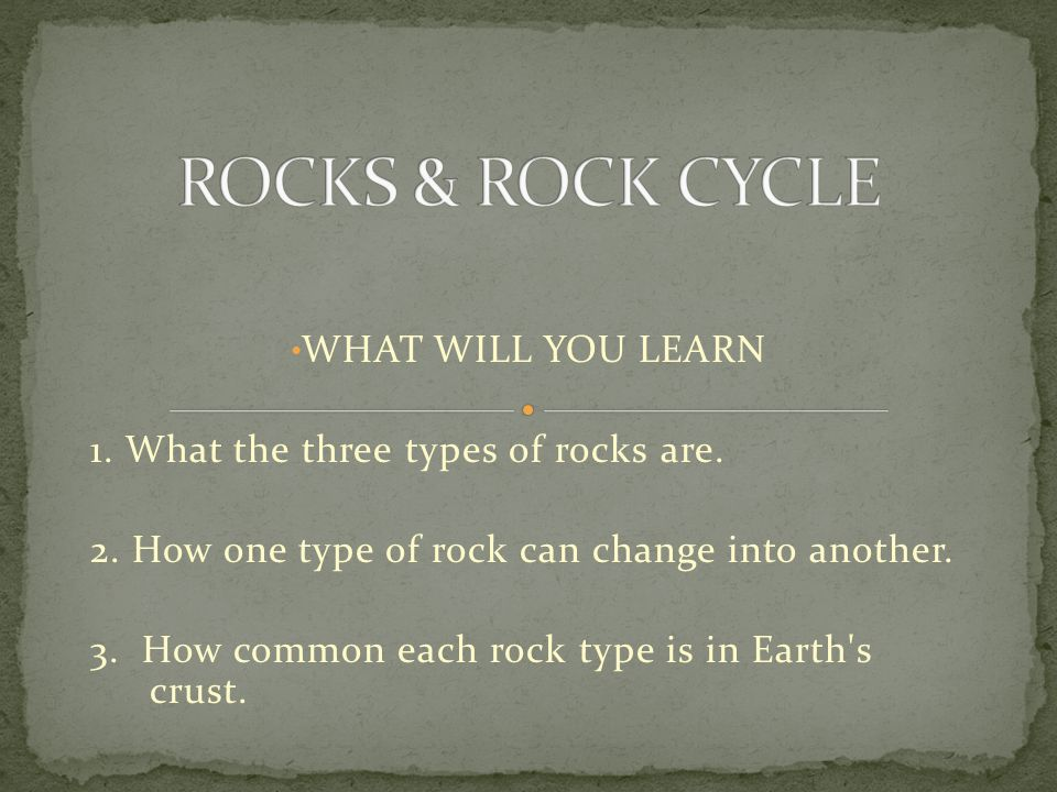 ROCKS & ROCK CYCLE WHAT WILL YOU LEARN