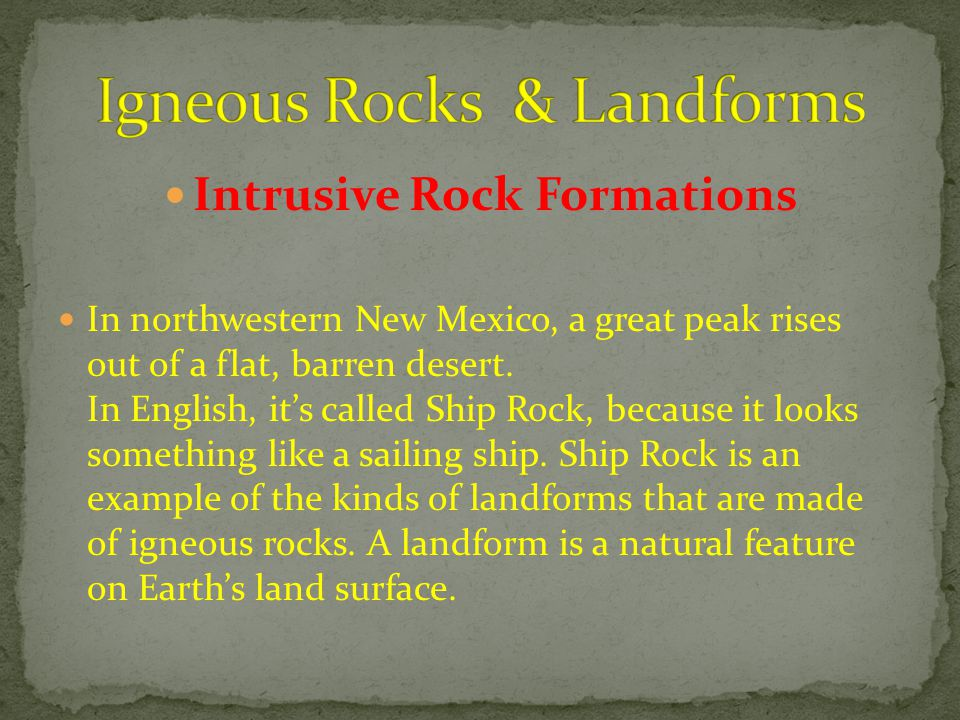 Igneous Rocks & Landforms