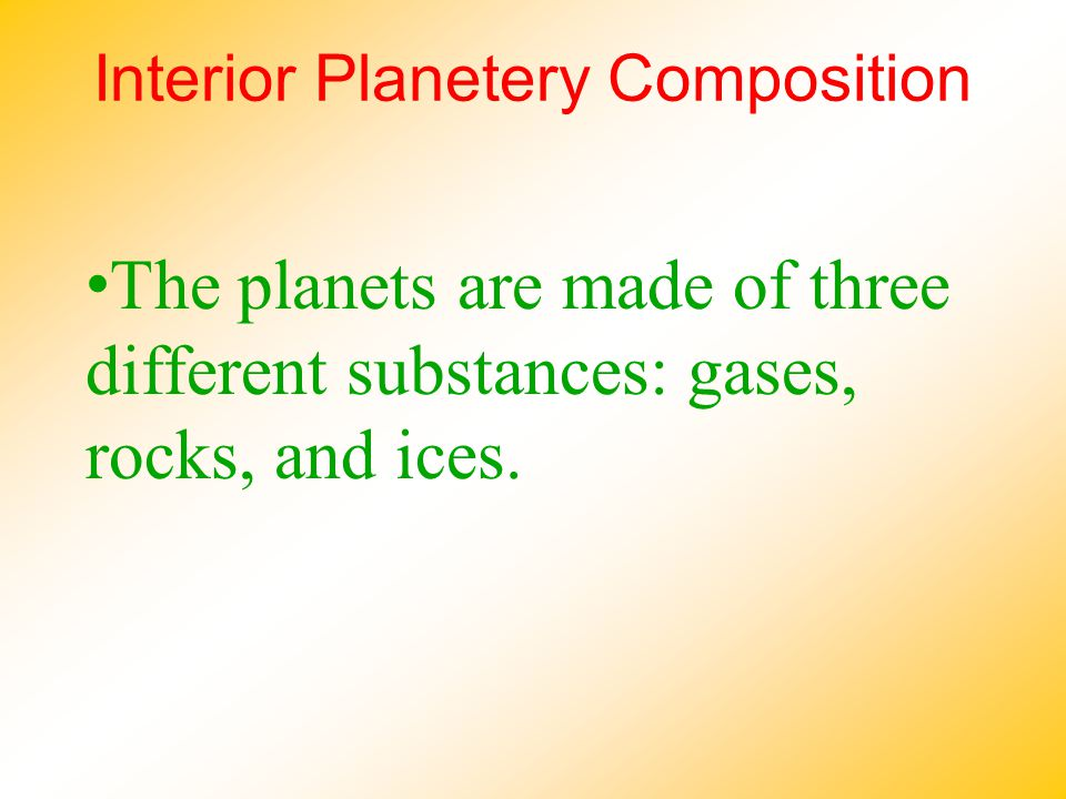 Interior Planetery Composition