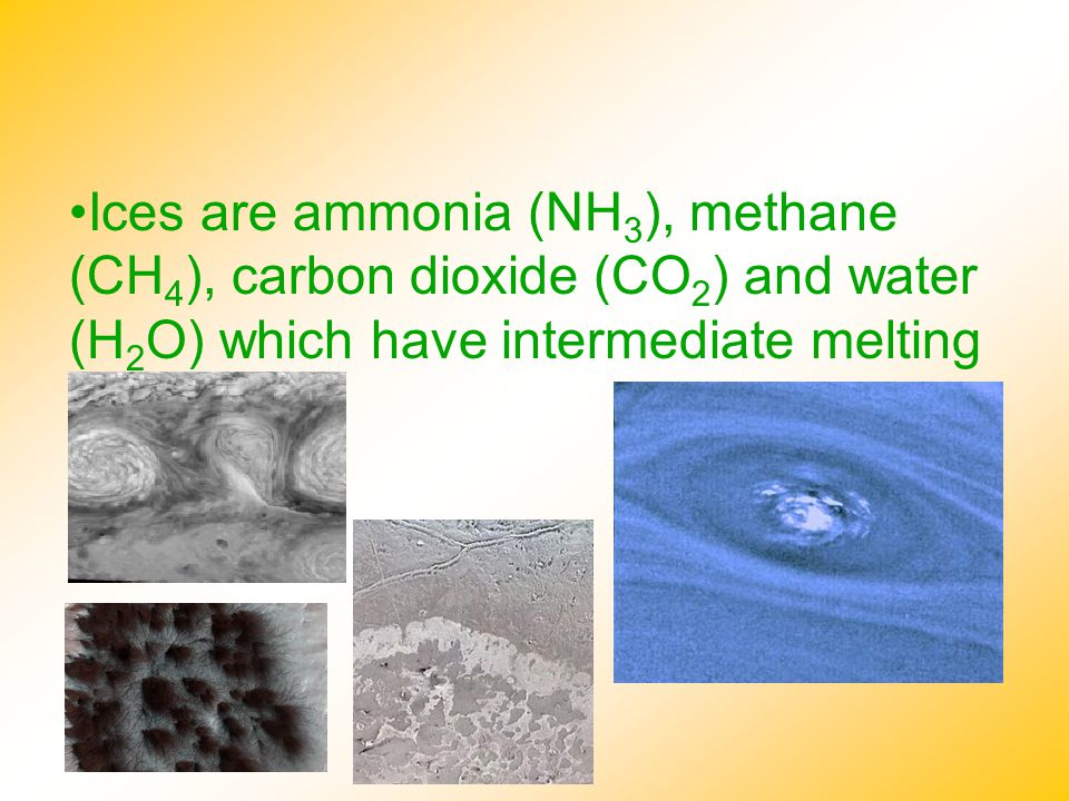 Ices are ammonia (NH3), methane (CH4), carbon dioxide (CO2) and water (H2O) which have intermediate melting points.
