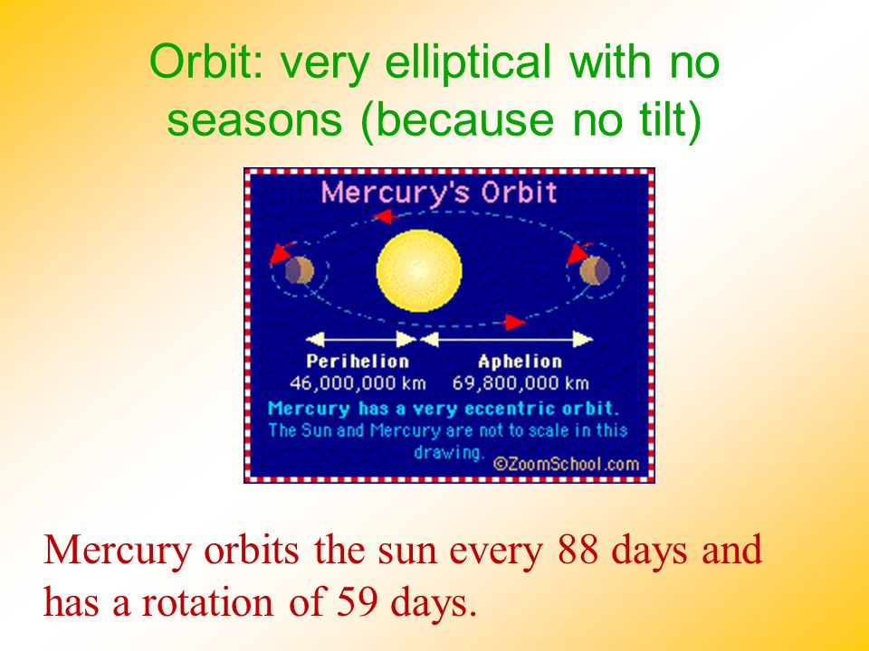 Orbit: very elliptical with no seasons (because no tilt)