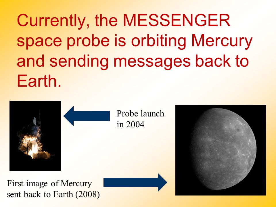 Currently, the MESSENGER space probe is orbiting Mercury and sending messages back to Earth.