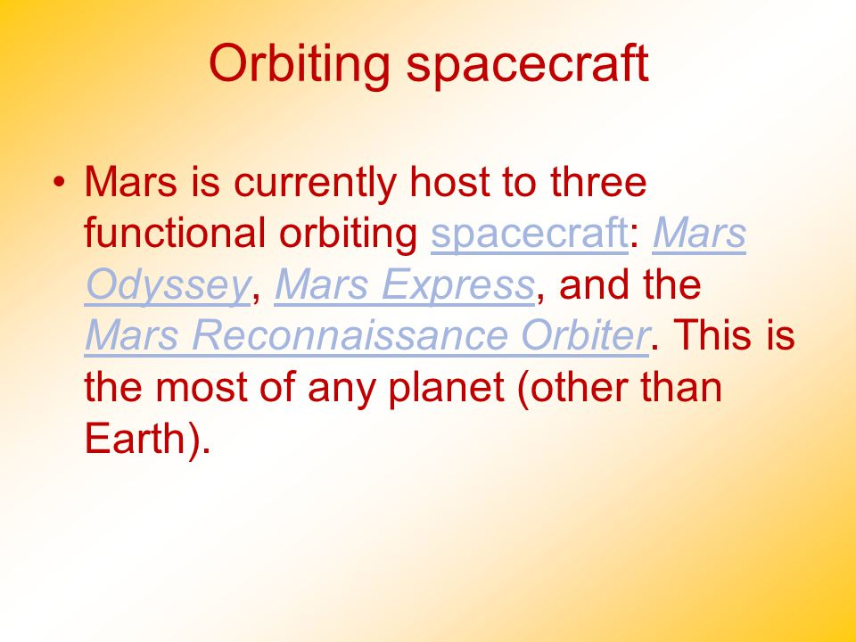 Orbiting spacecraft