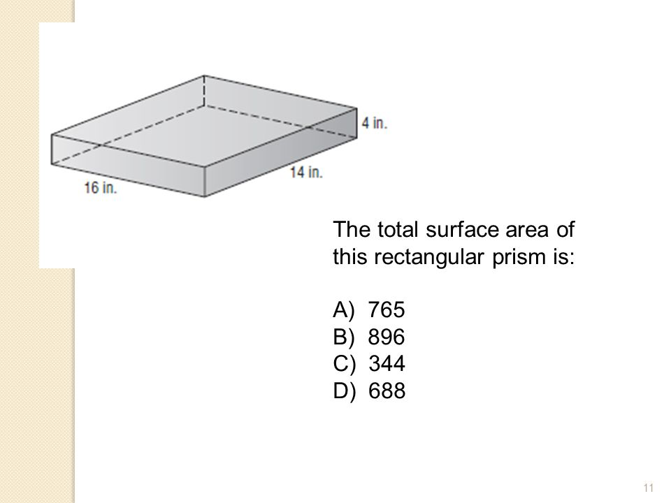The total surface area of this rectangular prism is: