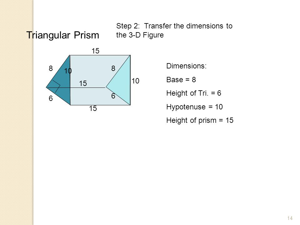 Triangular Prism Step 2: Transfer the dimensions to the 3-D Figure 15