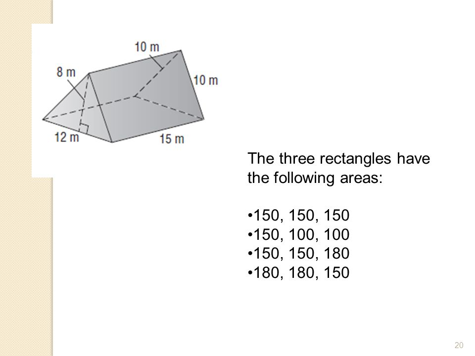 The three rectangles have the following areas: