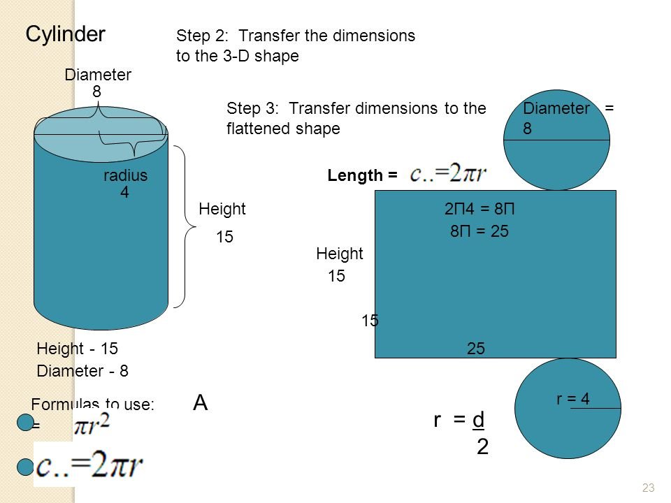 Cylinder r = d 2 Step 2: Transfer the dimensions to the 3-D shape