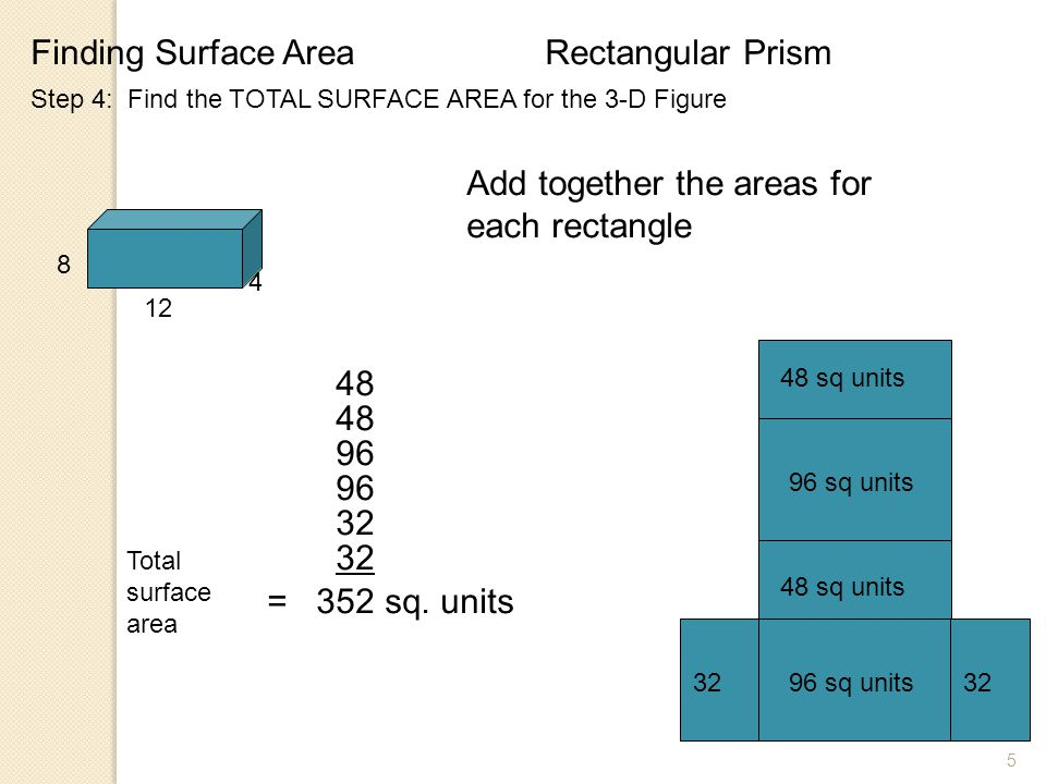 Add together the areas for each rectangle