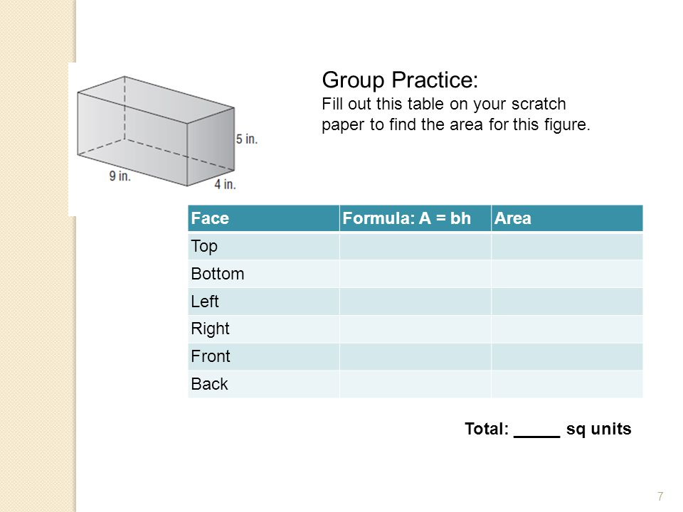 Group Practice: Fill out this table on your scratch paper to find the area for this figure. Face. Formula: A = bh.