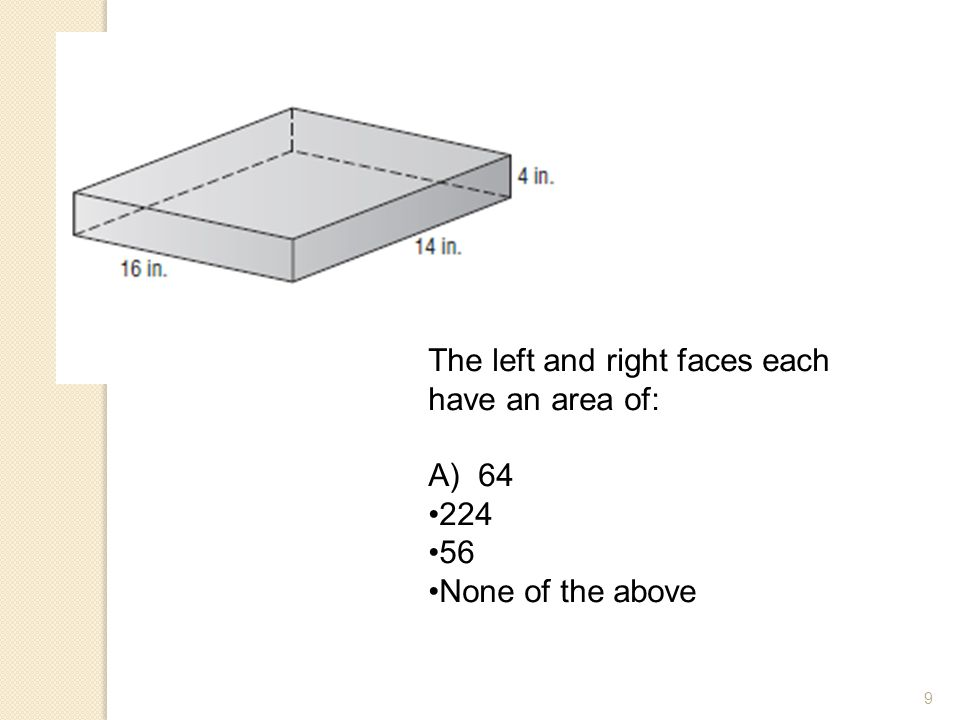 The left and right faces each have an area of: