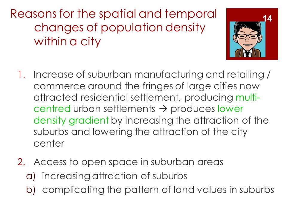 Reasons for the spatial and temporal changes of population density within a city
