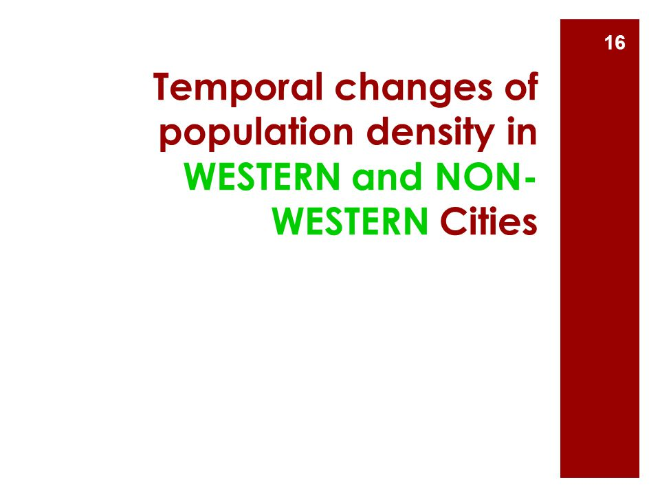 Temporal changes of population density in WESTERN and NON-WESTERN Cities