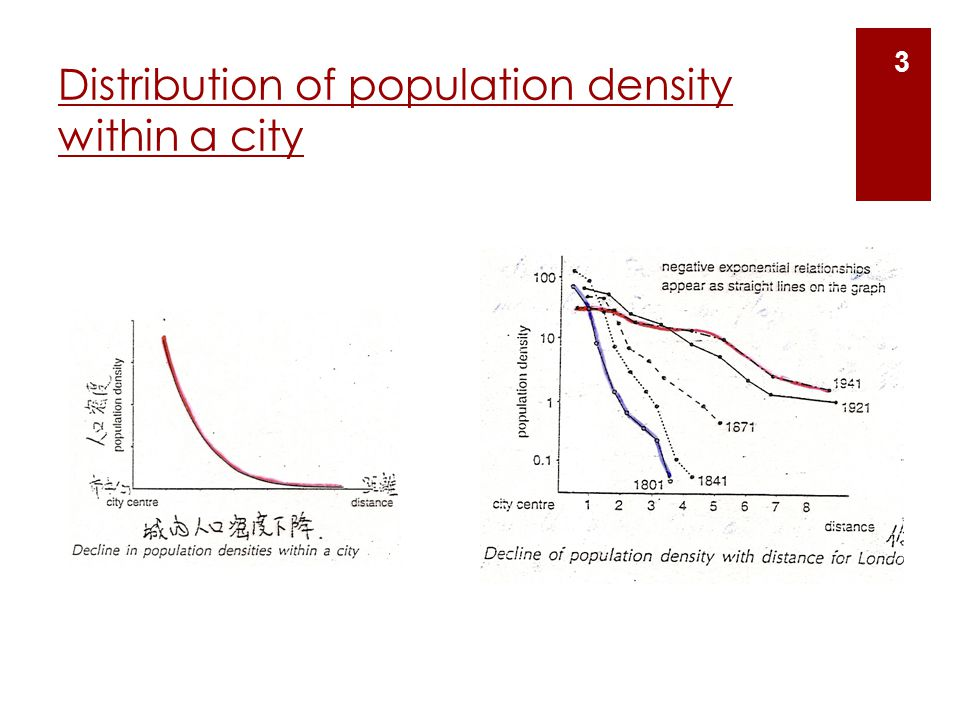 Distribution of population density within a city