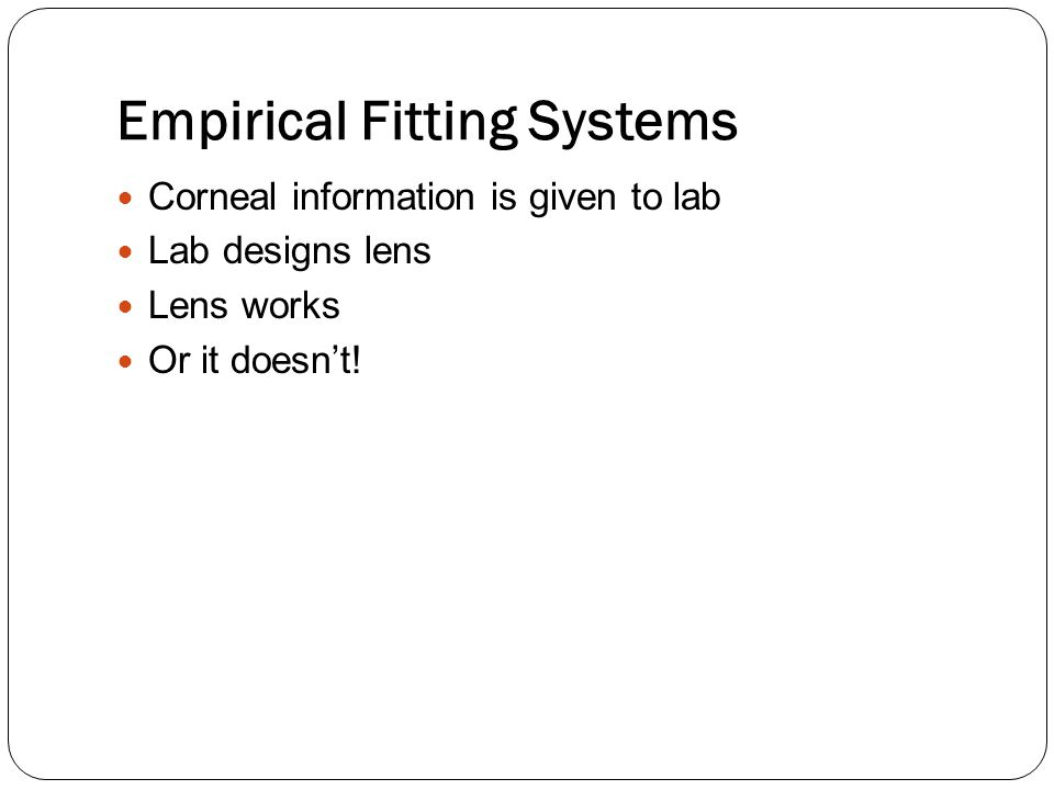 Empirical Fitting Systems