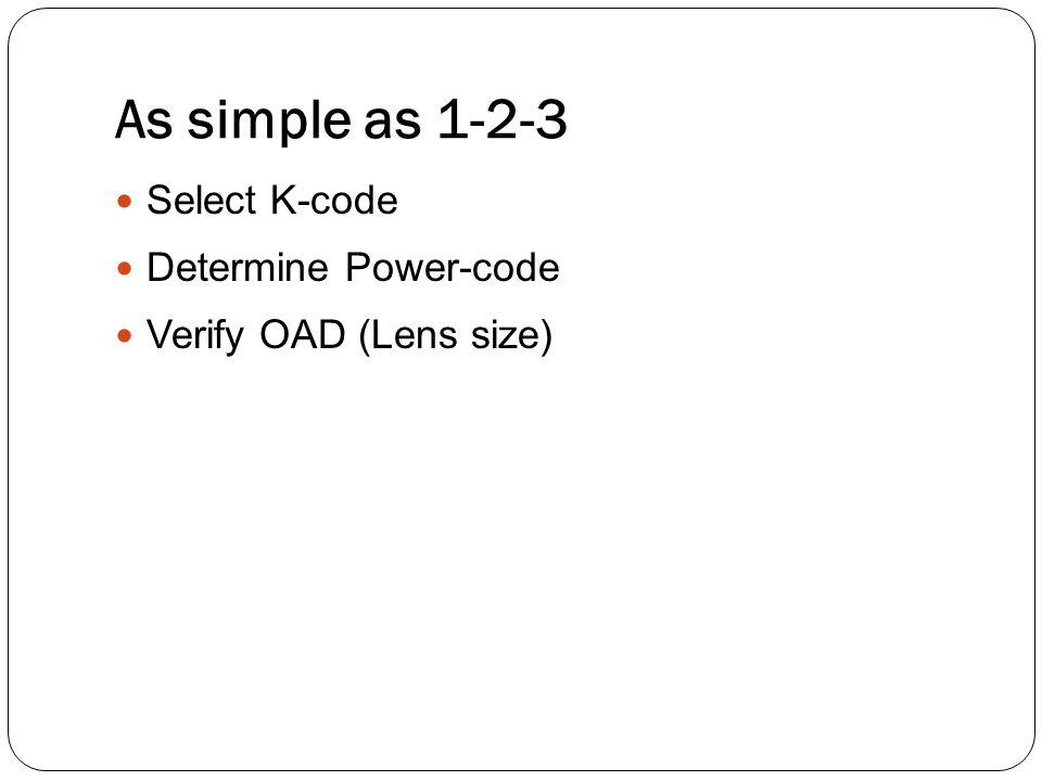 As simple as 1-2-3 Select K-code Determine Power-code