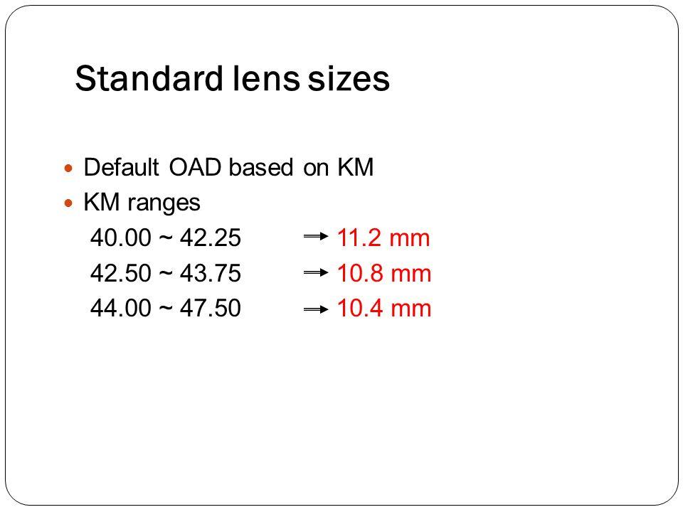 Standard lens sizes Default OAD based on KM KM ranges