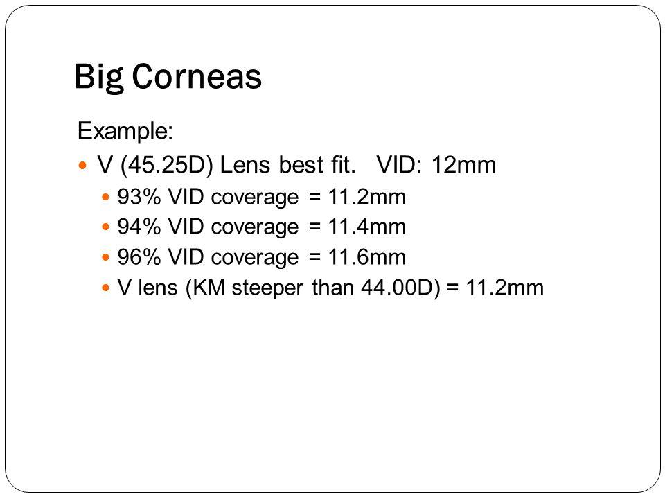 Big Corneas Example: V (45.25D) Lens best fit. VID: 12mm
