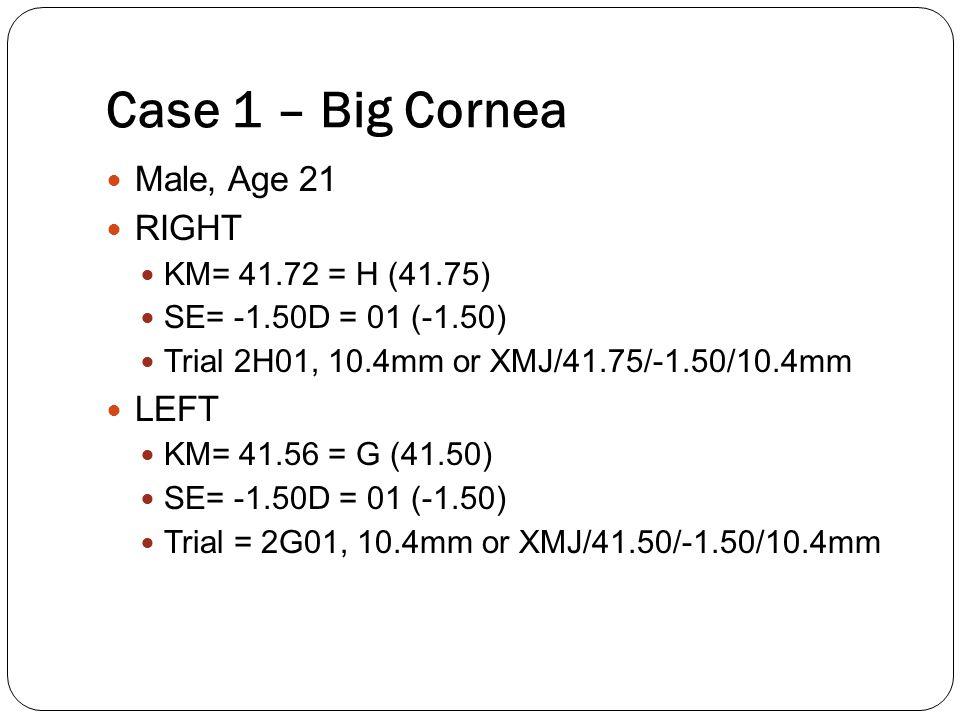 Case 1 – Big Cornea Male, Age 21 RIGHT LEFT KM= 41.72 = H (41.75)