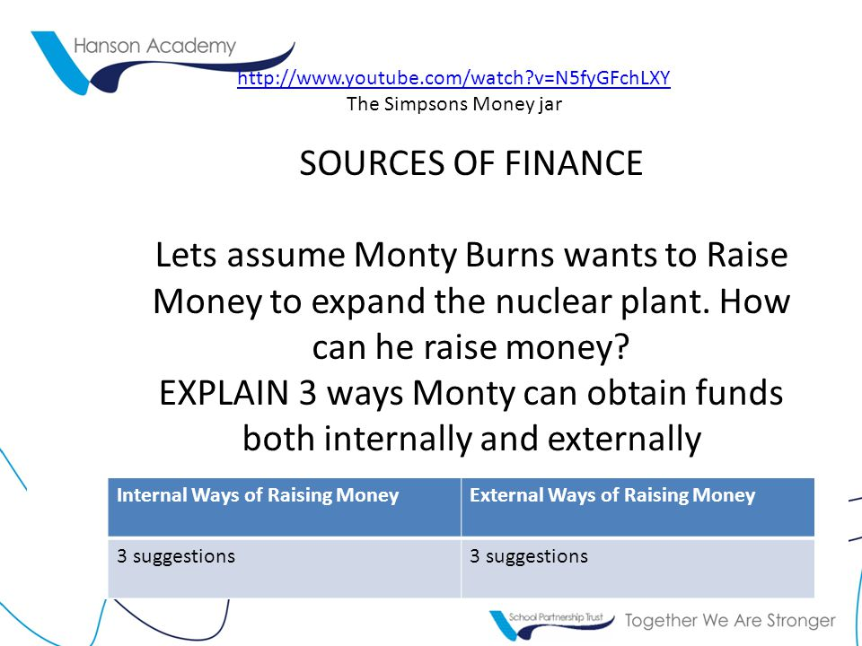 EXPLAIN 3 ways Monty can obtain funds both internally and externally