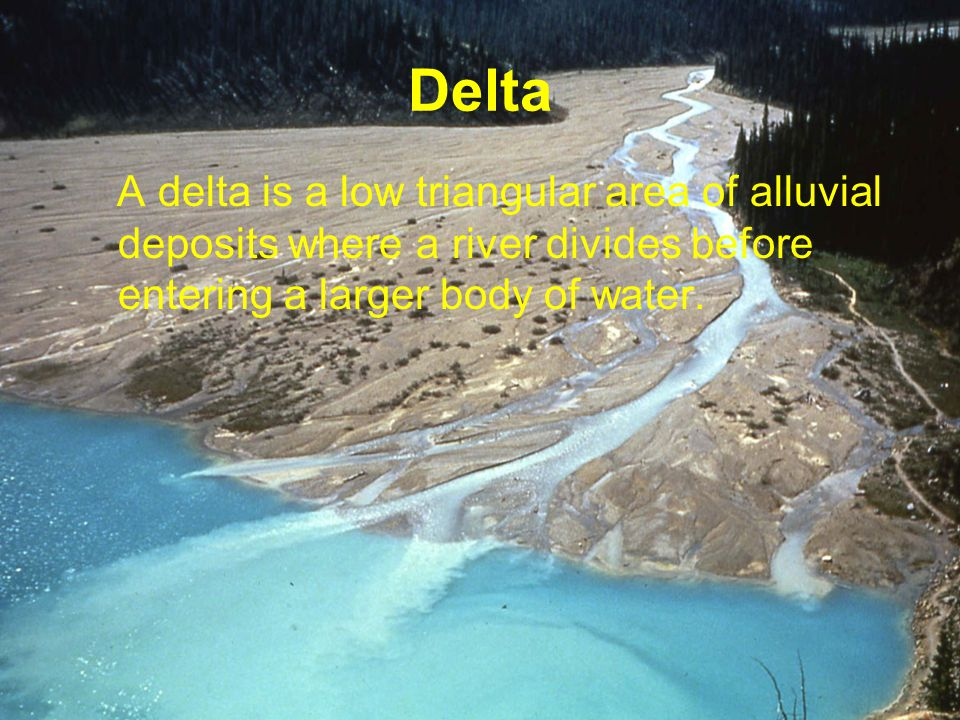 Delta A delta is a low triangular area of alluvial deposits where a river divides before entering a larger body of water.