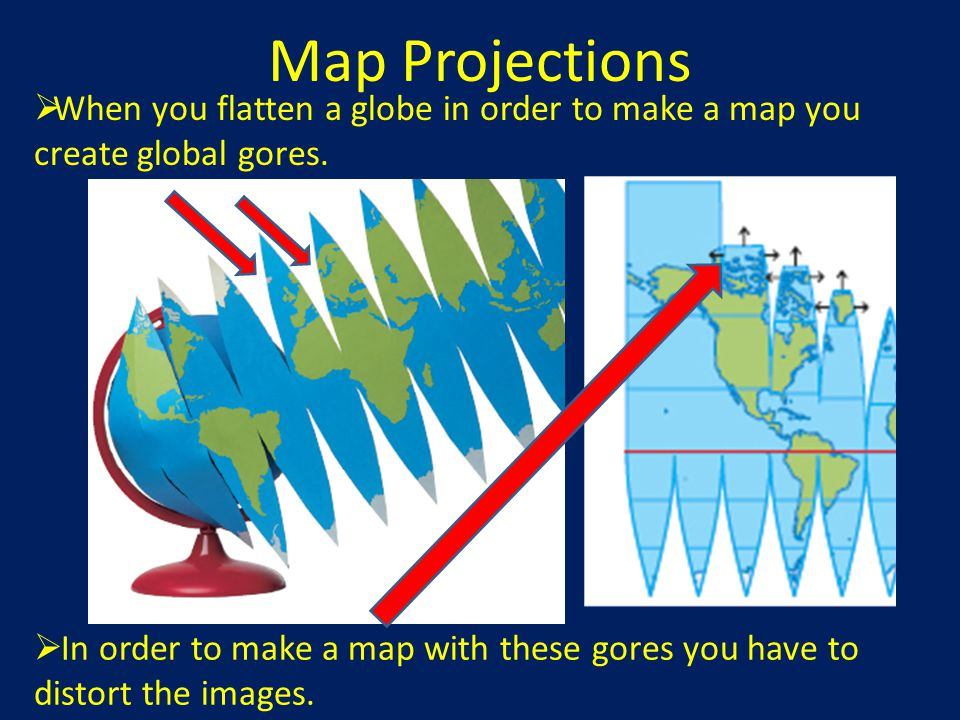 Map Projections When you flatten a globe in order to make a map you create global gores.