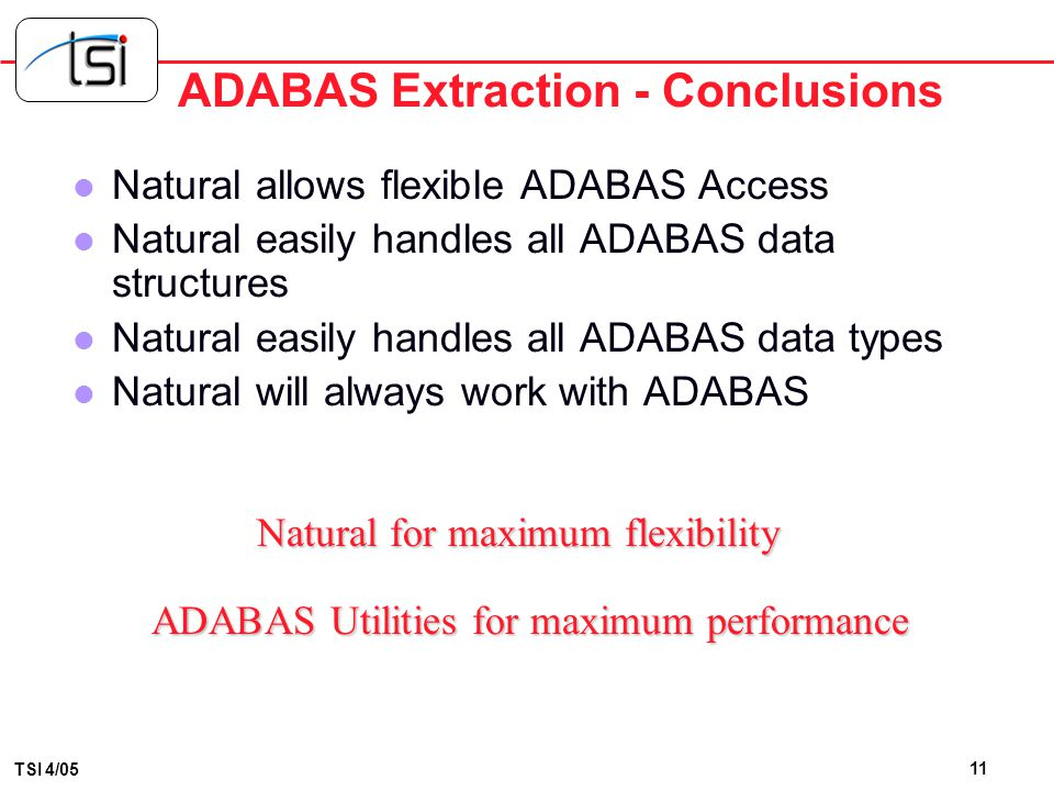 ADABAS Extraction - Conclusions