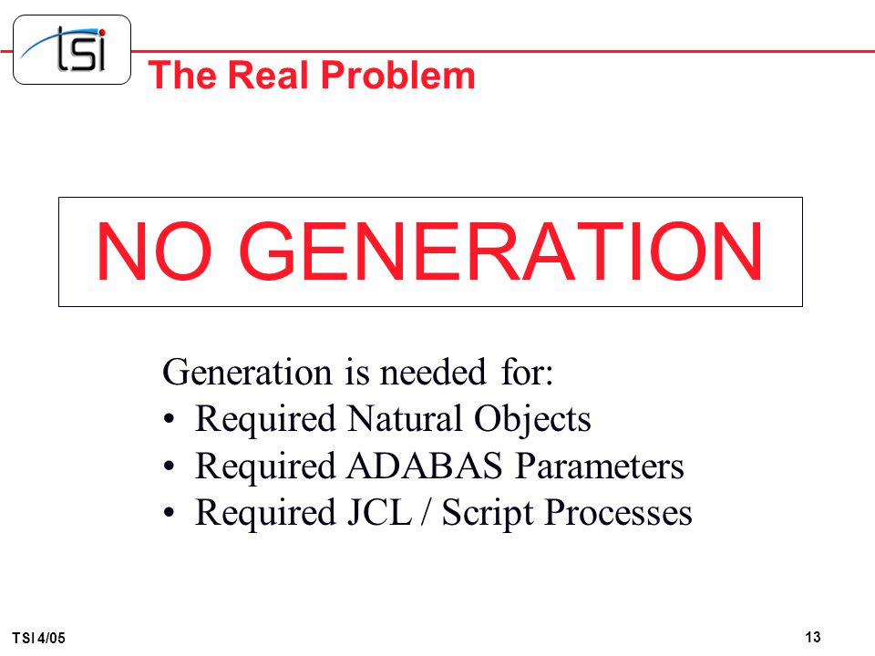 NO GENERATION The Real Problem Generation is needed for: