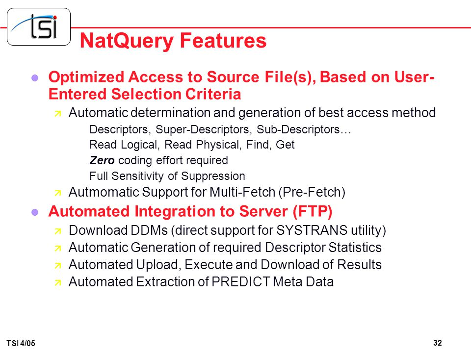 NatQuery Features Optimized Access to Source File(s), Based on User-Entered Selection Criteria.