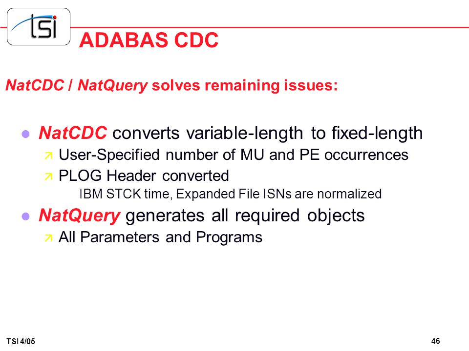 ADABAS CDC NatCDC converts variable-length to fixed-length
