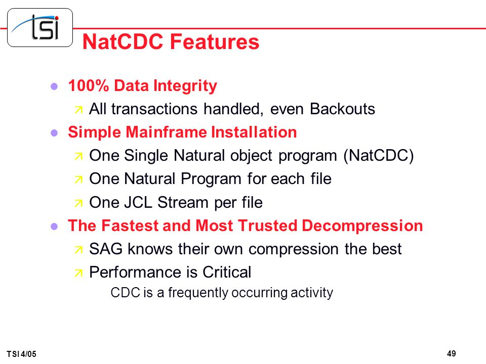 NatCDC Features 100% Data Integrity