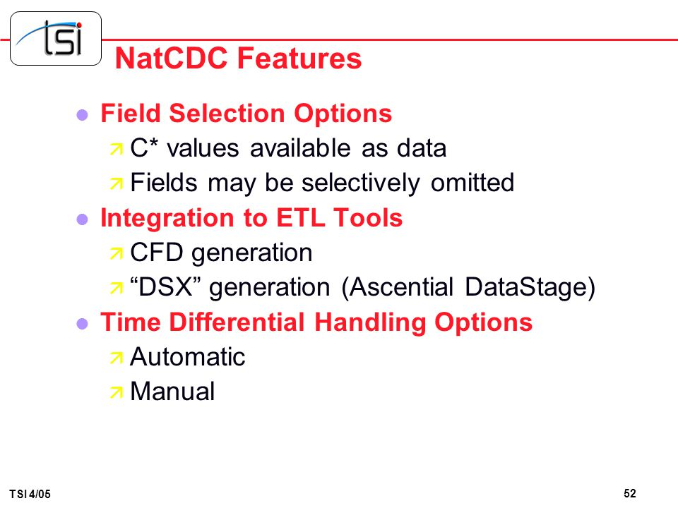 NatCDC Features Field Selection Options C* values available as data