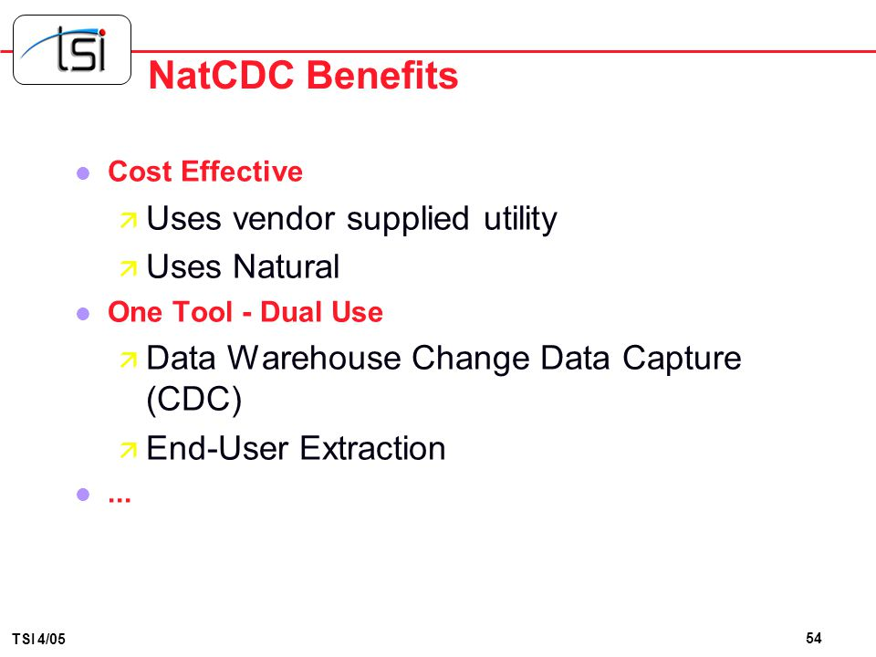 NatCDC Benefits Uses vendor supplied utility Uses Natural