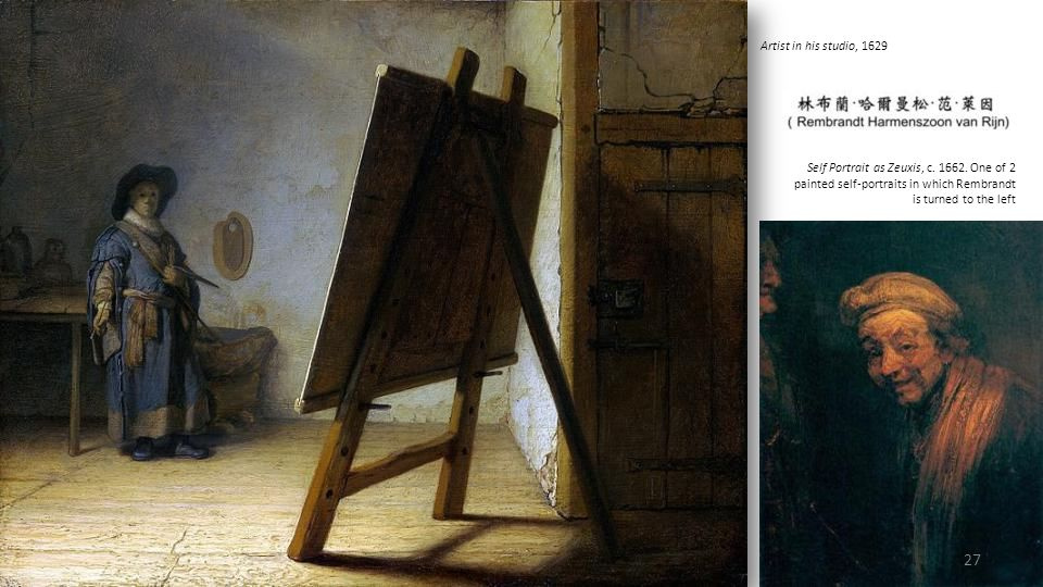 Artist in his studio, 1629 Self Portrait as Zeuxis, c.