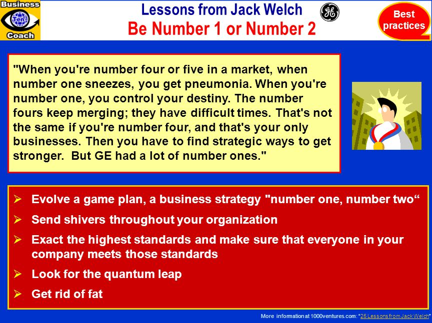 Lessons from Jack Welch Be Number 1 or Number 2