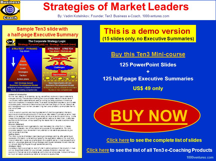 BUY NOW Strategies of Market Leaders This is a demo version