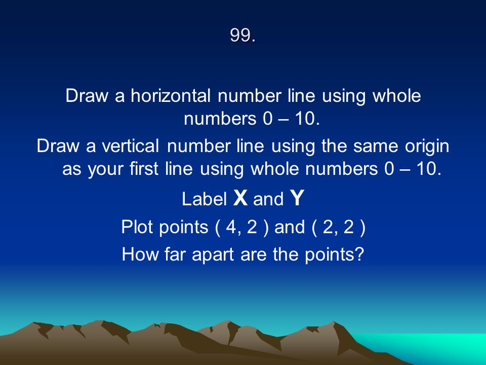 Draw a horizontal number line using whole numbers 0 – 10.