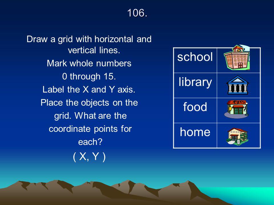 school library food home 106. ( X, Y )