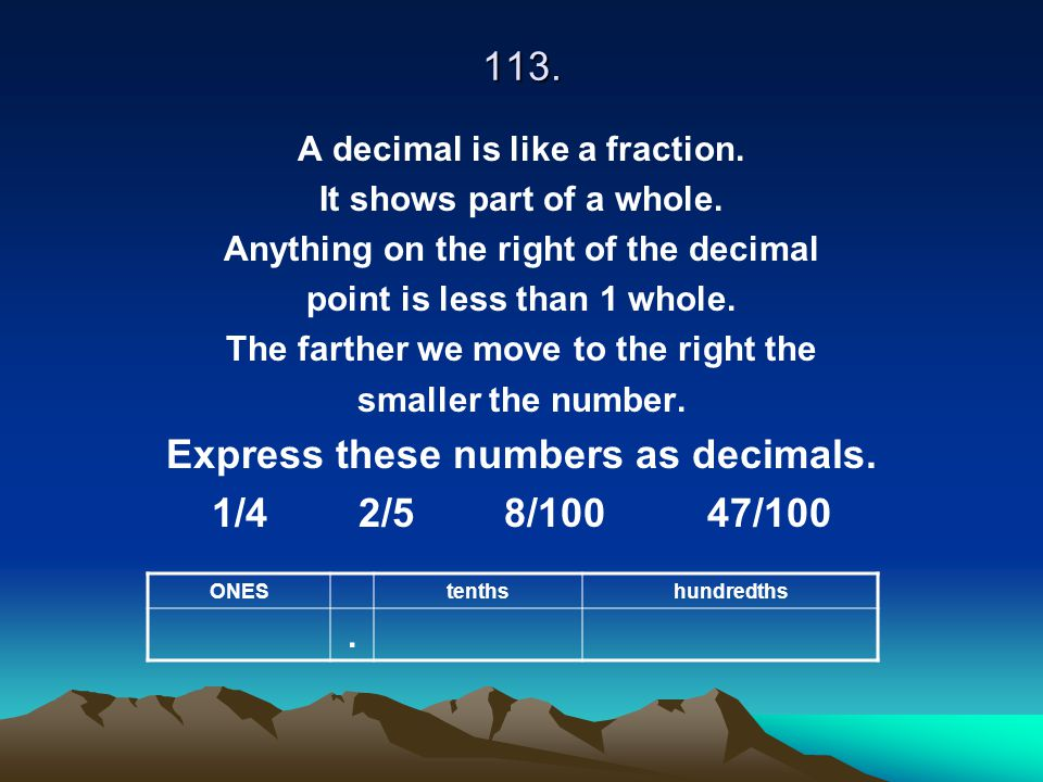 Express these numbers as decimals. 1/4 2/5 8/100 47/100