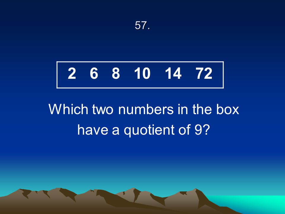 Which two numbers in the box