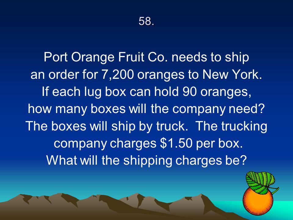 Port Orange Fruit Co. needs to ship