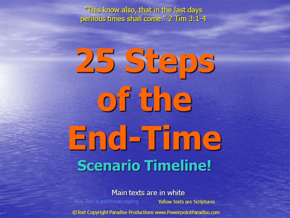 25 Steps of the End-Time Scenario Timeline!