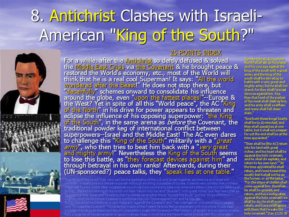 8. Antichrist Clashes with Israeli-American King of the South