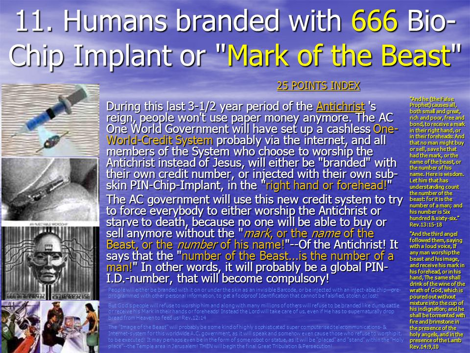 11. Humans branded with 666 Bio-Chip Implant or Mark of the Beast
