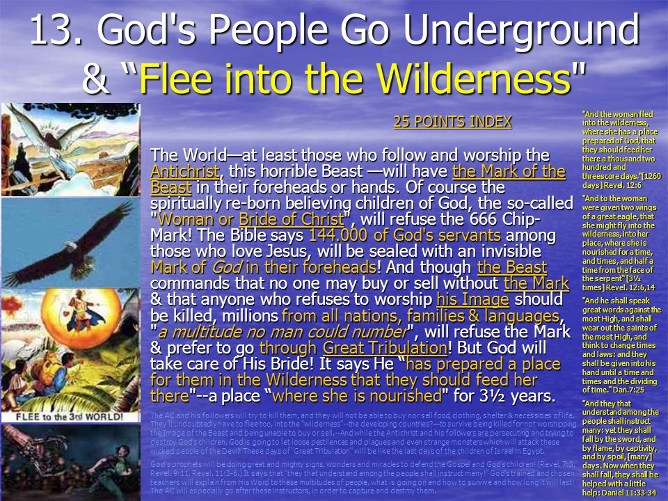 13. God s People Go Underground & Flee into the Wilderness