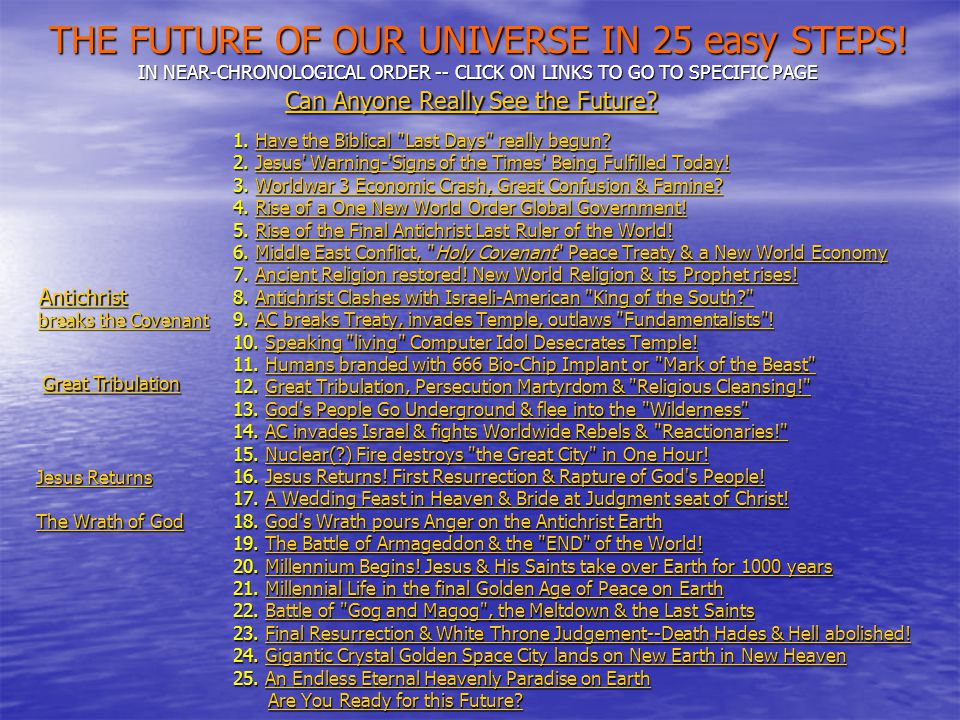 THE FUTURE OF OUR UNIVERSE IN 25 easy STEPS