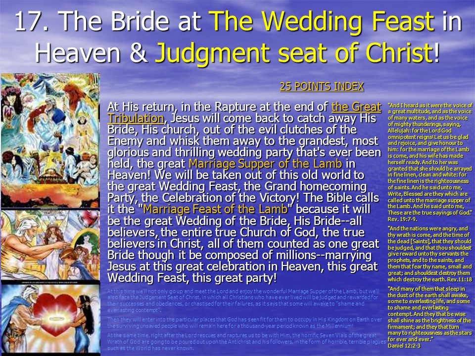17. The Bride at The Wedding Feast in Heaven & Judgment seat of Christ!