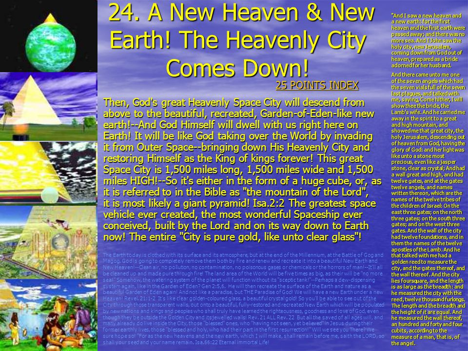 24. A New Heaven & New Earth! The Heavenly City Comes Down!
